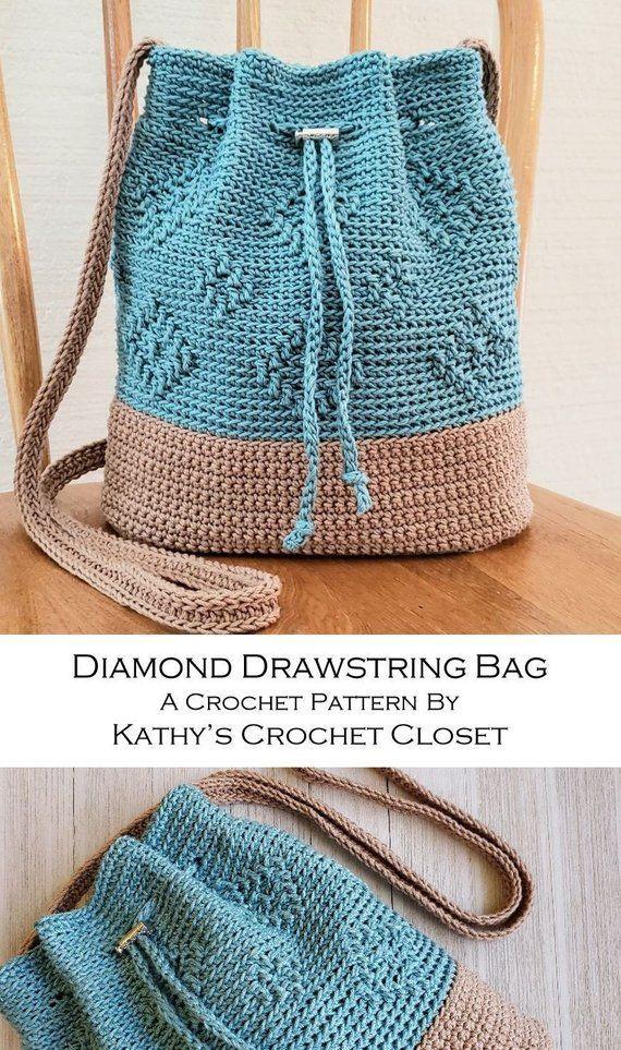 Saco de cordão de diamante padrão DIY Crossbody Bag   – Häkeln