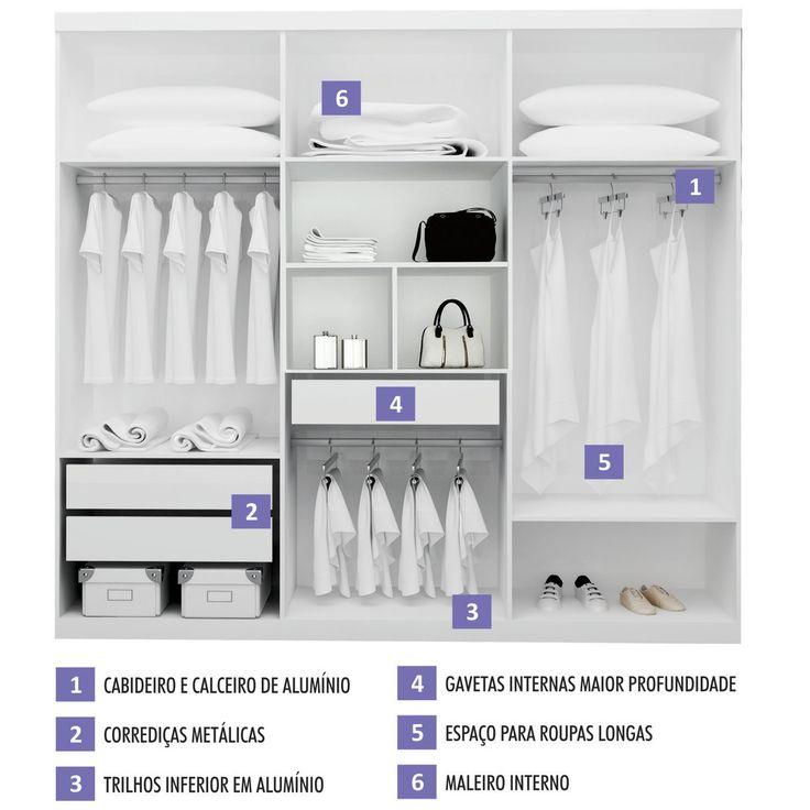 Guarda-roupa 3 Portas de Correr com Espelho Branco / Preto - Bom Pastor Smart Niterói