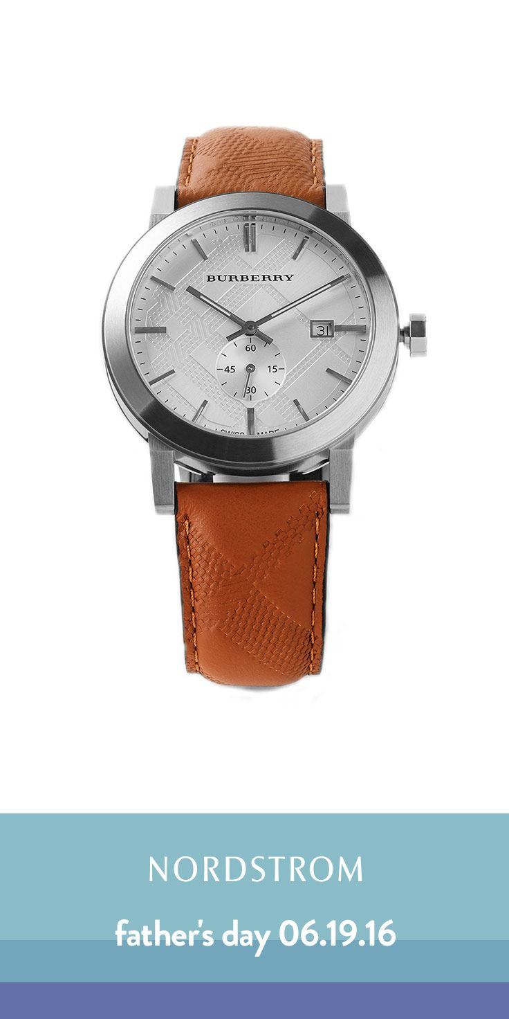 Timeless classic: Burberry watch. Love the leather strap with subtle Burberry print and the stainless steel face. Such a great gift for Father's Day -- Any dad would love this watch. Dress it up with a suit or wear it with something more casual or sporty as a statement piece.