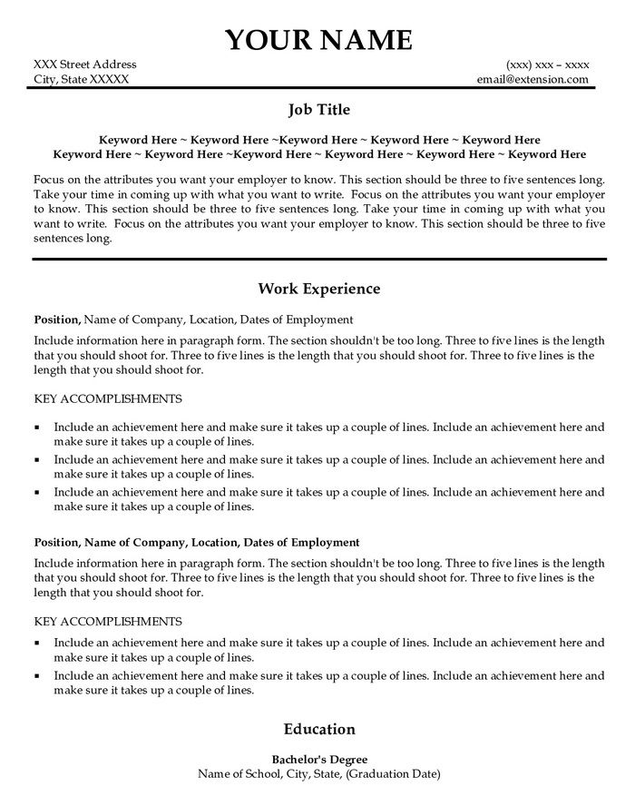 166 best Resume Templates and CV Reference images on Pinterest - Usajobs Resume Sample