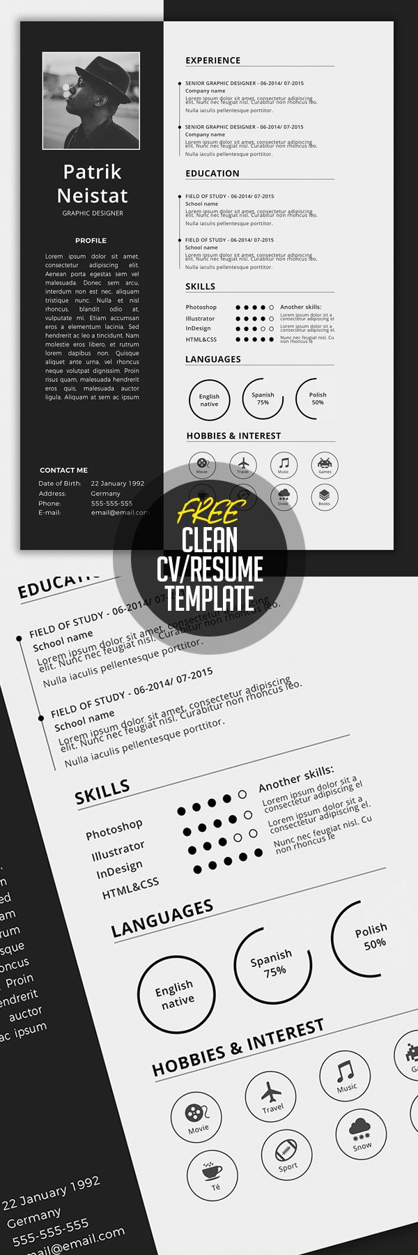 Simple CV/Resume Template Free Download #resumetemplate #minimalresume #resumedesign #freebie #psdtemplate