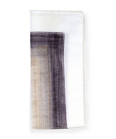 Brushstroke Napkin - White/Grey -The dark-colored center and white edge of the Brushstroke Napkin reverse the usual pattern of designed hems on white table linens, and the effect is breathtaking, subverting tradition for a fresh, rich transitional look that's easy to personalize. Elegant either folded for casual meals or drawn through a napkin ring for a more luxe setting, these napkins are instant signature linens. This item is sold as a single unit.