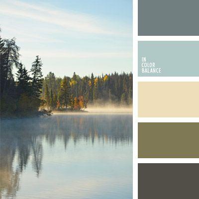 amarillo pálido, celeste, color amarillo cremoso, color azul niebla, color azul tejano pálido, color espesura del bosque, color niebla por encima del lago, color verde bosque, colores de la mañana, gris azulado, matices de color gris azulado, oliva, tonos verdes, verde, verde oscuro.