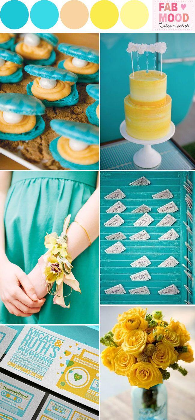 Aqua Yellow Beach Wedding Ideas