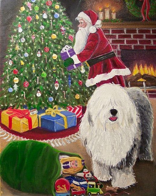 Oil Painting Old English Sheepdogs | is a beautiful highly detail oil painting. The Old English Sheepdog ...