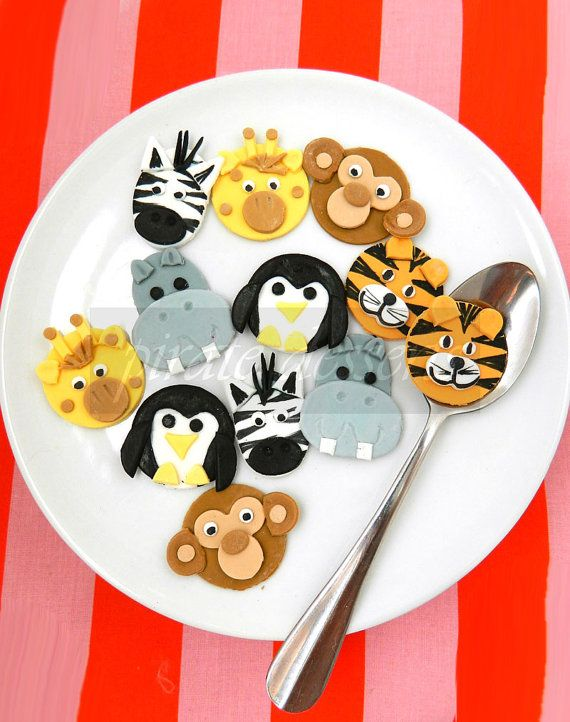 Edible cupcake toppers Zoo Animals Birthday Party by PirateDessert, $24.00