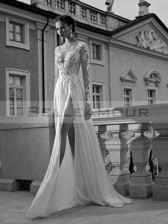 Robe de mariée Dos Nu Longue Sexy Manche Longue Col V Fente Dentelle