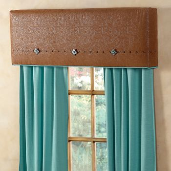 Window Cornice that looks like tooled leather with silver conchos. Hmmm - I need to make something like these.