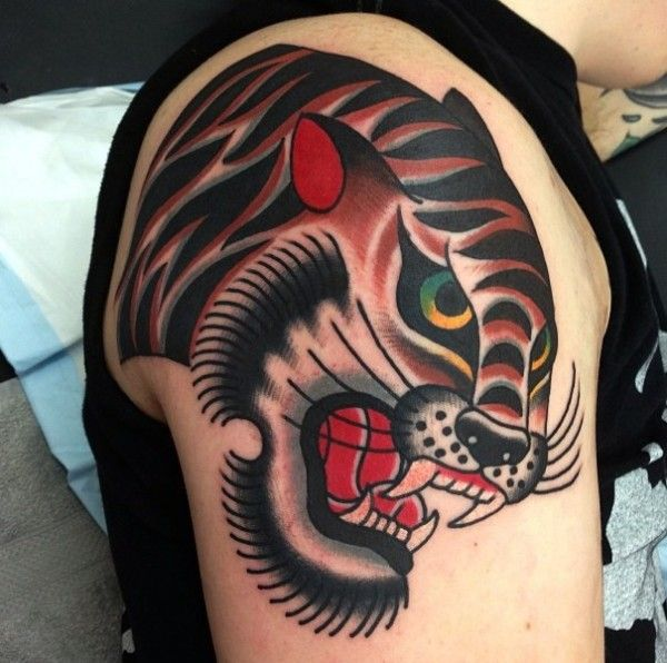 old school tiger by ben rorke tattoo ideas pinterest tiger tattoo tigers and old school. Black Bedroom Furniture Sets. Home Design Ideas