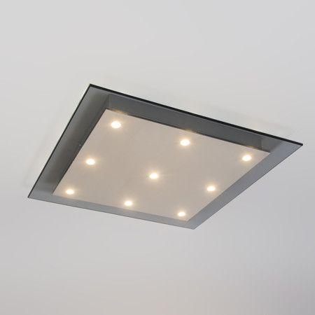Plafón CREDO 9 cuadrado cristal ahumado - Preciosa lámpara de techo que consiste en una placa de cristal ahumado con iluminación LED. Este modelo de estilo minimalista es ideal para colocar en cualquier estancia.