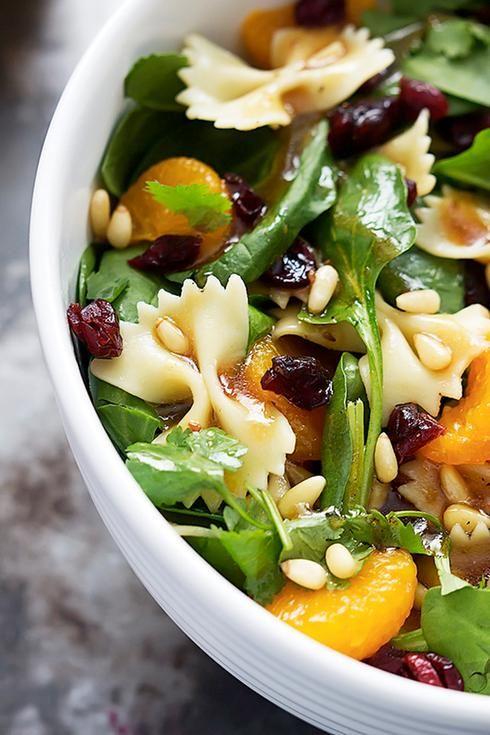 salade pâte noix pignons clémentine raisin canneberge