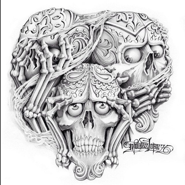 See no evil, Hear no evil, Speak no evil skull tattoo design (6)