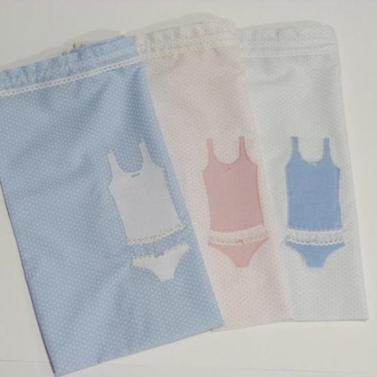 bolsa ropa interior niña  popelín de algodón,cordón de algodón,tela de lino blanco cosido