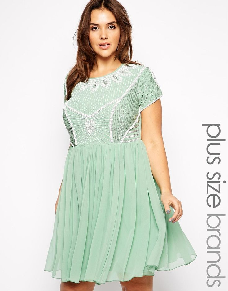 Asos Curve at Asos Embellished Skater Dress