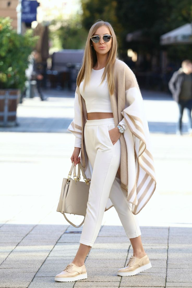 outfit with #beige #white #zara poncho