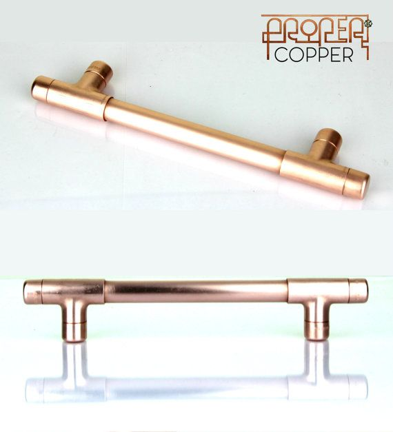 This beautiful handmade modern copper T pull handle could transform your kitchen, dresser, cabinet, drawers or wardrobe. The natural glow from