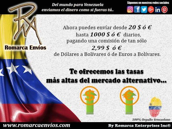 #RomarcaEnvios te ofrece las tasas más altas del mercado alternativo.  #EnvioDeDinero #VenezolanosEnElExterior