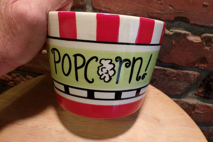 Popcorn bowl, Red, Pier 1 Popcorn Serving bowl, movie room décor, man cave décor by Morethebuckles on Etsy