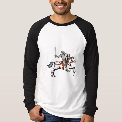 Knight Steed Wielding Sword Cartoon T-shirt. Cartoon style illustration of a knight wearing armor riding on his steed horse holding shield and wielding sword viewed from the side set on isolated white background. #Cartoonstyle #KnightSteedWieldingSword