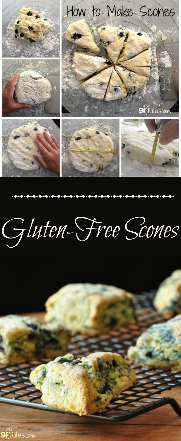 Soft & sweet gluten-free scones. This recipe is so quick and easy, it'll become your go-to breakfast! http://gfJules.com