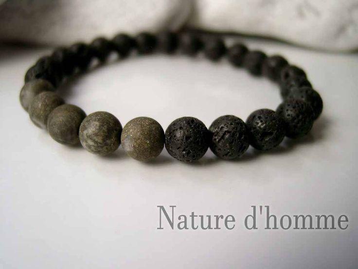 Bracelet homme pierres roche volcanique et pyrite reflets or