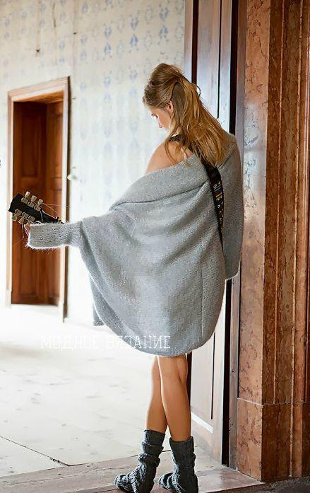 Свободный кардиган каракулевым узором - Модное вязание