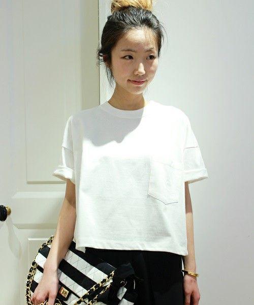 Deuxieme Classe(ドゥーズィーエムクラス)の【予約】COTTON ワイドポケTシャツ(Tシャツ/カットソー)|ホワイト
