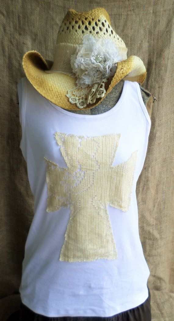 Vintage Lace Cross Tank Top by Pistolpearlsboutique on Etsy