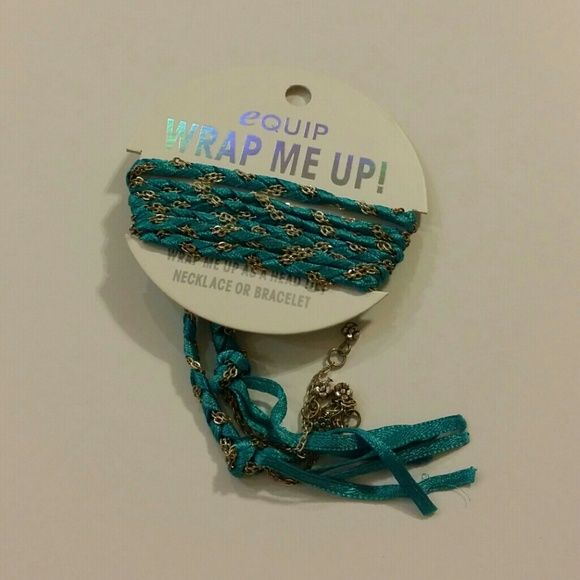 Teal Blue Chain Wrap - Head tie/Necklace/Bracelet Teal blue ribbon with chain accessory. Can use as a head tie, necklace, bracelet. Brand new. NO PAYPAL. NO TRADES.  ***PRICE IS FIRM*** equip Accessories Hair Accessories