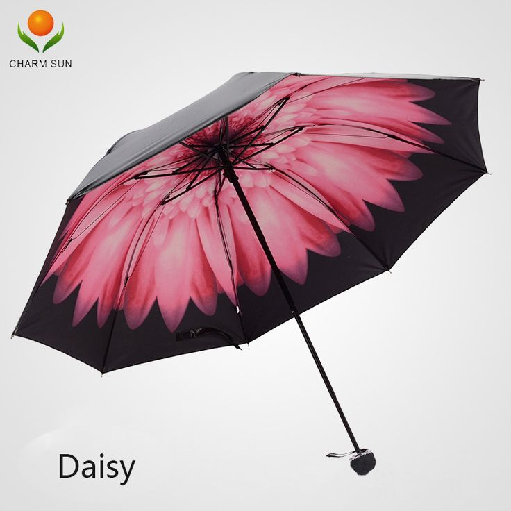 Women black Daisy umbrella sun umbrella folding umbrella sunny daisy vinyl UV resistant sun umbrellas