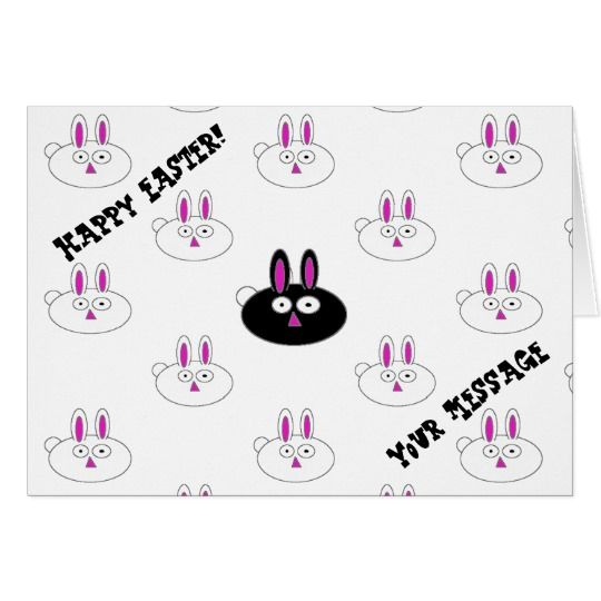 Happy Easter Black & White Bunnies Greeting Card