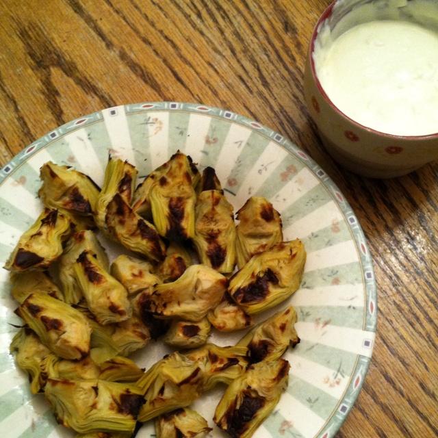 ... artichoke hearts and garlic aioli...very simple, very delicious