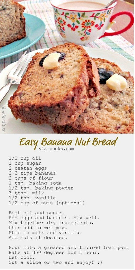 Easy Banana Nut Bread..I'm doing some substitution on this one: using whole wheat flour, coconut oil, brown sugar, and adding a dash of cinnamon and a few chocolate chips for the picky kids in the bunch lol..we'll see how it turns out....2  hours later, yep pretty good : )