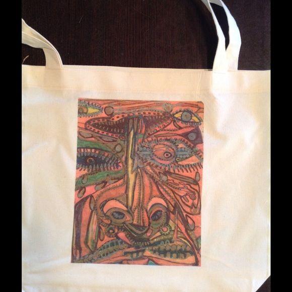 """Totem Pole"" American Apparel tote bag. Hand drawn screened on 50/50 American Apparel cotton poly tote bag. Dimensions 17.5 by 18"". American Apparel Bags Totes"