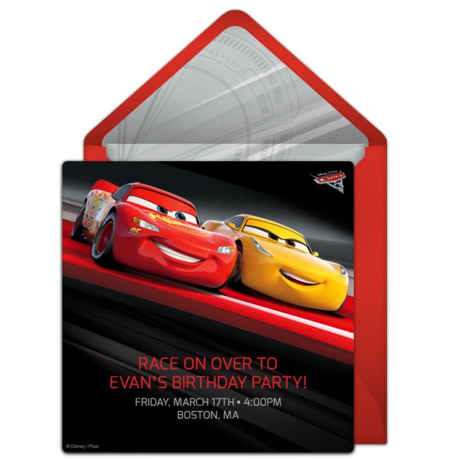 FREE Disney invitations that you can send online for free. We are loving this awesome Cars 3 themed digital invite - it's perfect for an action-packed birthday party!