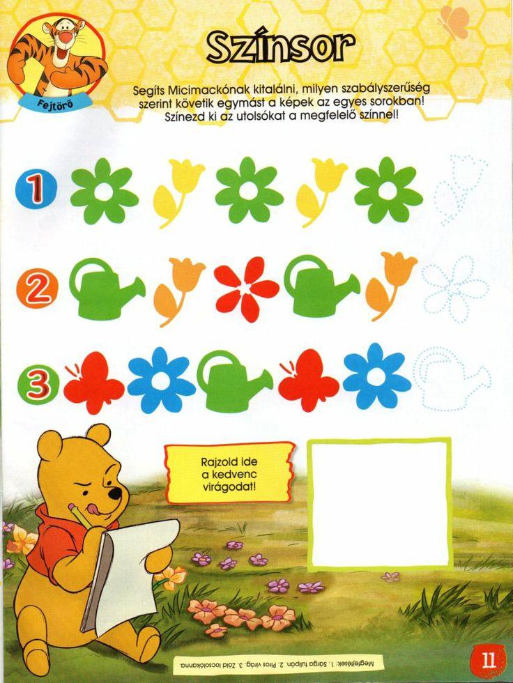 Színsor - logikai feladatlap - forrás: Micimackó magazin 2012. 04.