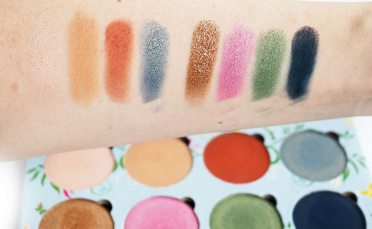 Swatches MAKEUP ADDICTION MEADOW PALETA CIENI