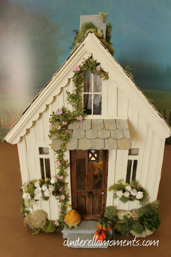 Pearl Cottage Custom Dollhouse with Lights by cinderellamoments, $650.00 SOLD