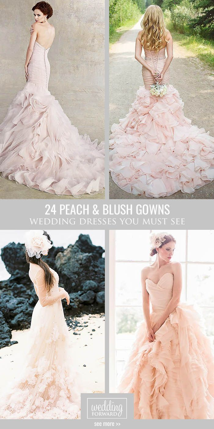 24 Stunning Peach & Blush Wedding Gowns You Must See ❤ Peach and blush is among the hottest wedding colour themes every year. See more: http://www.weddingforward.com/peach-blush-wedding-dresses/ #wedding #bride #weddingdress #blushweddinggowns