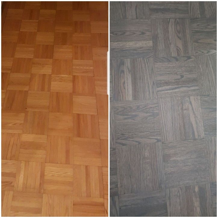 Before And After Refinished Parquet Flooring From Natural To
