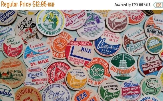 ON SALE 50 Vintage Milk Bottle Dairy Caps for Scrapbooking, Collage, Mixed Media
