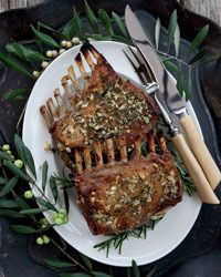 Garlic-Crusted Roast Rack of Lamb - EASY - Saw in Food & Wine - Kenny Rochford's favorite way to prepare a rack of lamb is to simply rub it with plenty of garlic, rosemary, olive oil and salt before roasting.