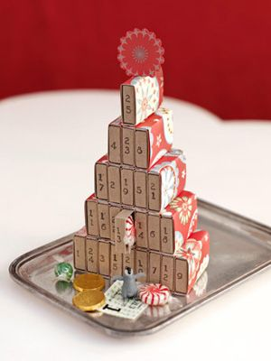 Advent Calendar with match boxes.  Too cute!