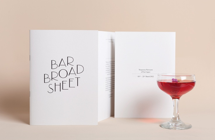 Bar Broadsheet identity by The Company You Keep