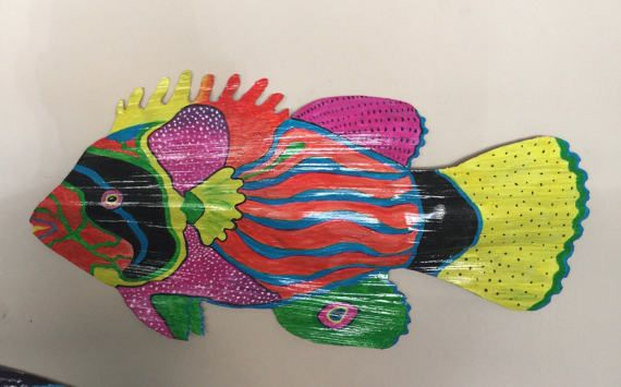 Colorful Palm Frond Fish by VisionaryColorsShop on Etsy