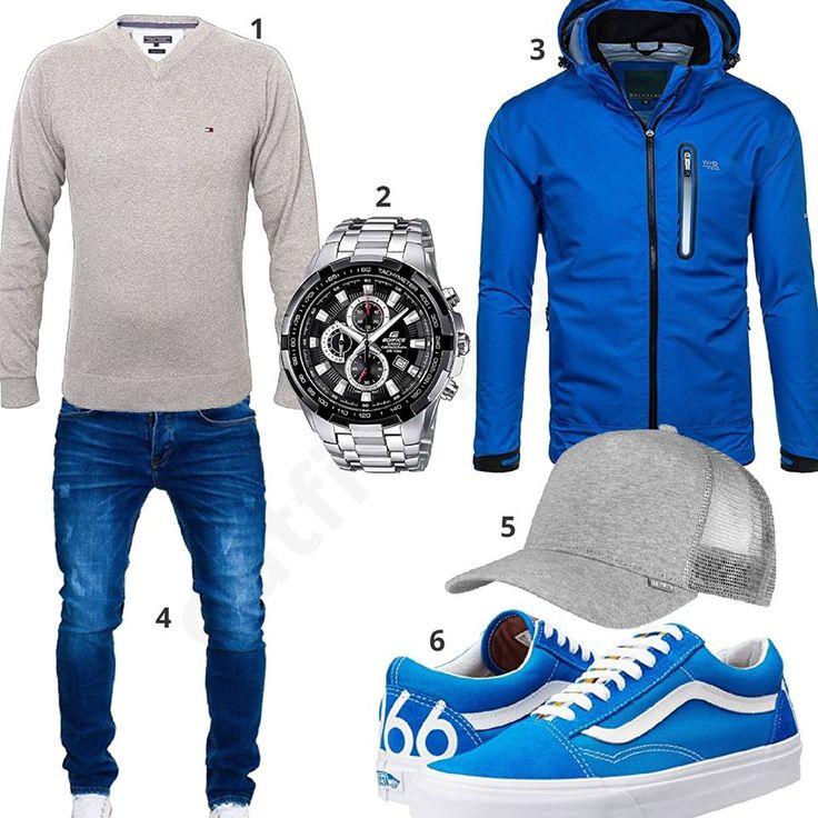 Blaue Softshelljacke, Vans Sneaker und Merish Jeans (m0540)