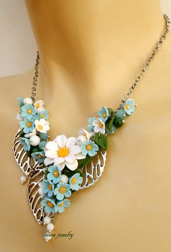 Daisy - Flower jewelry - Spring jewelry - Forget me not - Handmade necklace