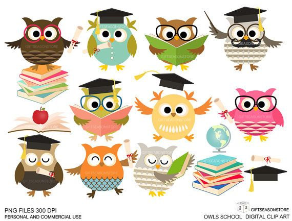 School owls Digital clip art for Personal and by Giftseasonstore, $2.00