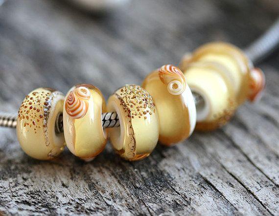 Beach European Charm Beads Large hole glass beads by MayaHoney#forsale #etsy #glass #handmade #homemade #shopping #handcrafted #forgirl #jewelry #lampwork #fashion #mayahoney #bracelet #pandora #beads #european #europencharm #charm #charmbeads #troll #forbracelet #beach #shells