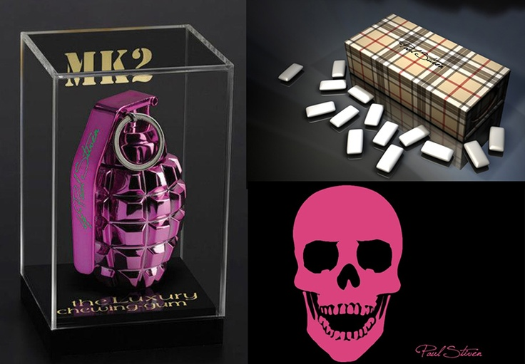Luxury Chewing Gum with #Skulls and grenades
